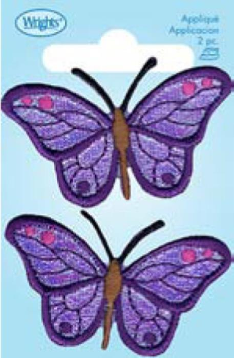 Butterfly Purple, Field  2/cd Iron On Applique 1.25 x 1.75 inch
