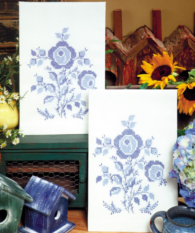 Blue Rose Kitchen Towels - 17 x 30 Stamped for Embroidery