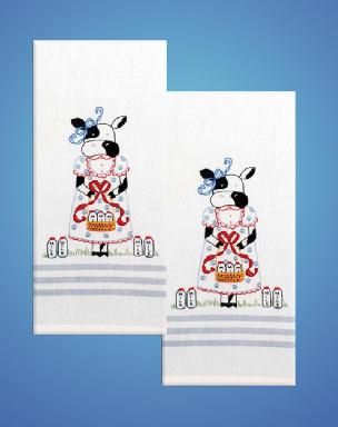 Milk Cow Stripe Kitchen Towels - one pair from Tobin