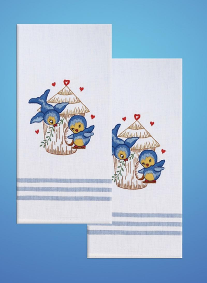 Bird Blue Stripe Kitchen Towels Stamped for Embroidery by Tobin