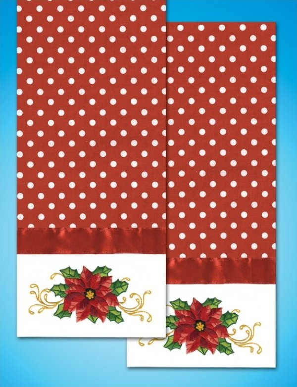Poinsettia - Kitchen Towel for Embroidery 18 x 28 inch Tobin T212947