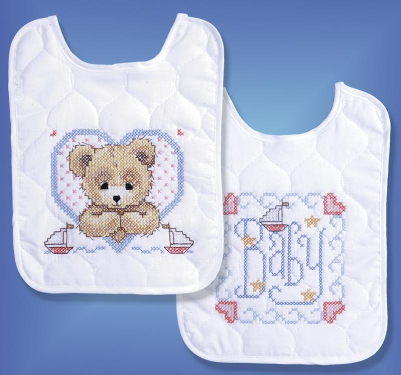 Bedtime Prayer Boy - Set of 2 Baby Bibs Stamped for Cross Stitching by Tobin