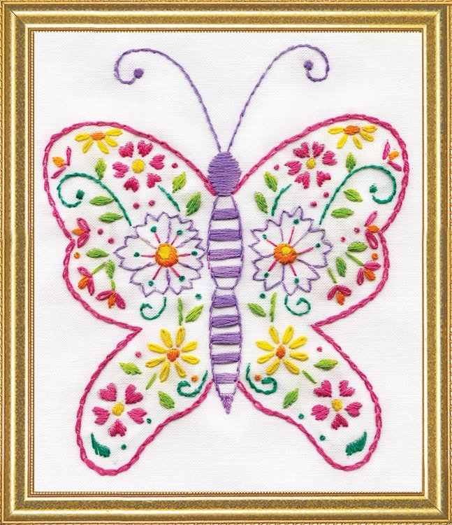 Butterfly 5 x 7 inch Stamped Embroidery Kit