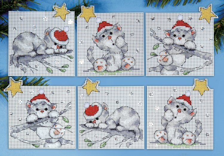 Christmas Cats Ornaments Embroidery Kit