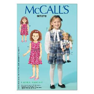 This Laura Ashley designed dress pattern Girls - 18 Dolls Dresses CDD 2-3-4-5 McCall's M7272