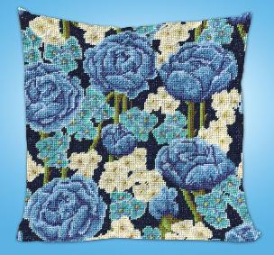 Blue Rose 12 x 12 inch Needlepoint Pillow Kit
