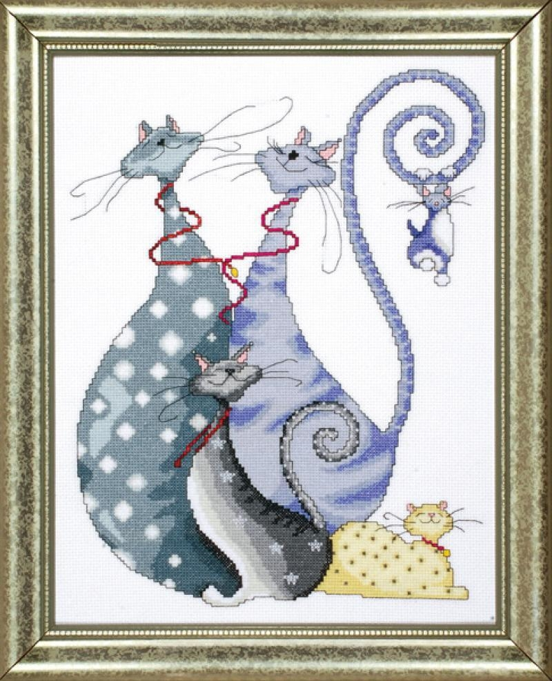 Cat Pack Counted Cross Stitch Kit 10 x 14 inch