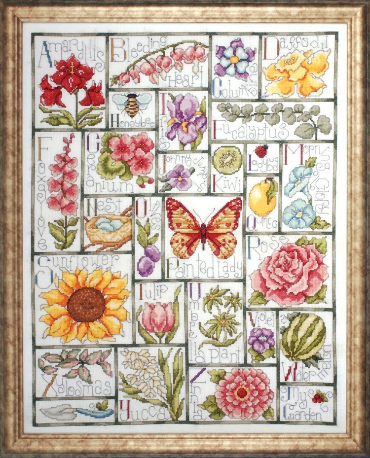 Floral ABC Sampler Counted Cross Stitch Kit 16 x 20 inch