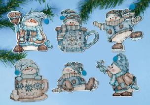 Cocoa Snowmen Christmas Cross Stitch Ornaments Kit