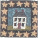 House with Stars - Punch Needle Miniatures