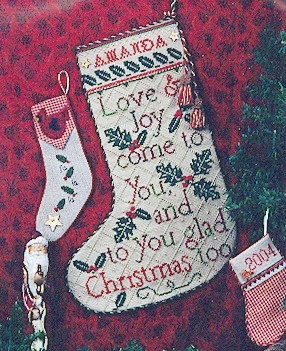 Glad Tidings Stocking Punchneedle Design w/iron on transfer