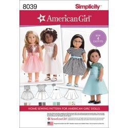 American Girl Doll Clothes for 18 Inch Doll Simplicity 8039 - 4 outfits