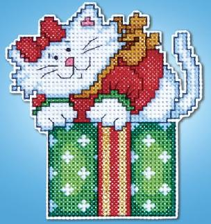 Counted Cross Stitch Ornament Kit - Cat in Box