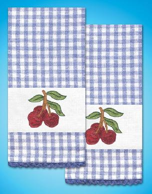 Cherry Kitchen Towels - one pair Stamped for Embroidery