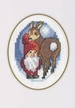 Permin Pixie with Reindeer Cross Stitch Card kit