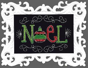 Noel Counted Cross Stitch Kit w White Scroll Frame