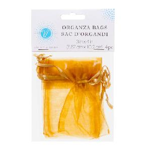 Organza Favor Bags Gold 3 x 4 inch