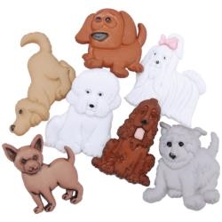 Puppy Parade Buttons - 7 pieces