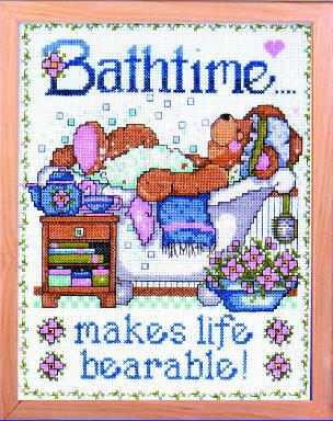 Bathtime Bears 8 x 10 inch Counted Cross Stitch Kit