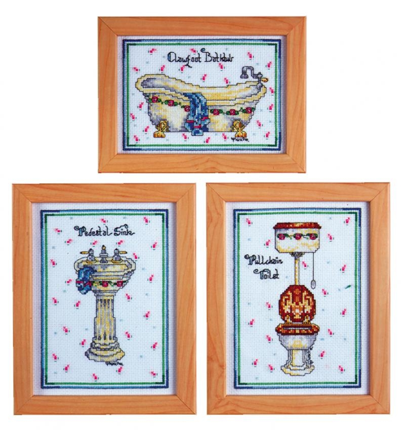 Olde Timey 3 pc Bath Set - Counted Cross Stitch Kit