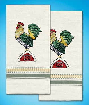 Rooster Towels Pair 18 x 28 inches Stamped for Embroidery