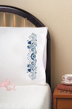 Delft Pair of Standard Pillowcases Stamped for Embroidery