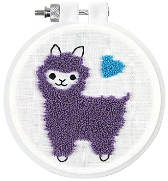 Llama Punch Embroidery Kit 3.5 inch round