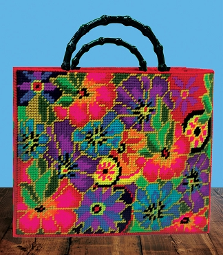 Floral Plastic Canvas Tote Kit - Laurel Burch